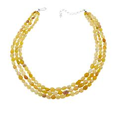 "Jay King 3-Strand Yellow Opal Bead 17-3/4"" Sterling Silver Necklace"