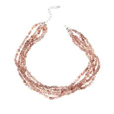 "Jay King 5-Strand Strawberry Quartz 18"" Sterling Silver Necklace"