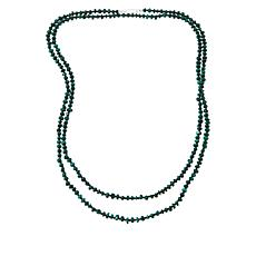"Jay King 60"" Sterling Silver Malachite and Black Spinel Bead Necklace"