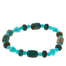 Jay King Amazonite and Parrot Wing Stone Stretch Bracelet