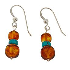 Jay King Amber and Turquoise Bead Drop Sterling Silver Earrings