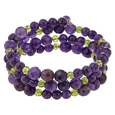 Jay King Amethyst and Peridot Bead Coil Sterling Silver Bracelet