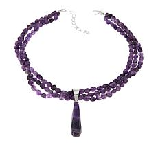 "Jay King Amethyst Sterling Silver Pendant with 3-Strand 18"" Necklace"