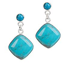 Jay King Angel Peak and Kingman Turquoise Cushion Drop Earrings