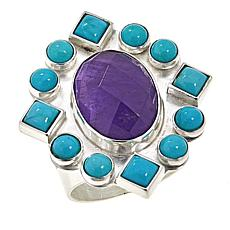 Jay King Angel Peak Turquoise and Amethyst Ring