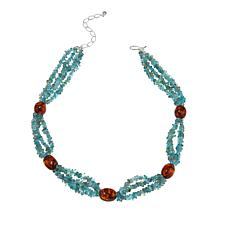 "Jay King Apatite and Amber Sterling Silver Beaded 18"" Station Necklace"