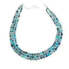 """Jay King Aquamarine and Swan Stone Bead 18"""" Sterling Silver Necklace"""