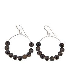 Jay King Black Obsidian Hoop Drop Earrings