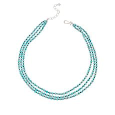 Jay King Blue-Green Quartzite and Black Spinel Bead 3-Strand Necklace