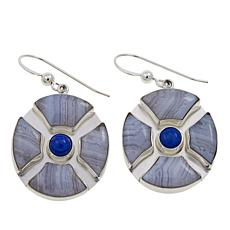 Jay King Blue Lace Agate and Lapis Sterling Silver Round Drop Earrings