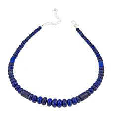 "Jay King Blue Lapis Graduated Bead 18"" Sterling Silver Necklace"