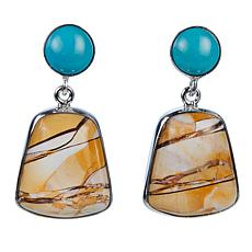 Jay King Brecciated Opal and Turquoise Drop Sterling Silver Earrings
