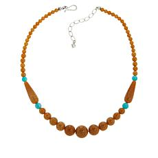 Jay King Butterscotch Amber and Amazonite Bead Necklace