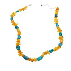 "Jay King Butterscotch Amber and Turquoise 20"" Sterling Silver Necklace"