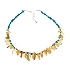 "Jay King Citrine and Turquoise 18-1/4"" Necklace"