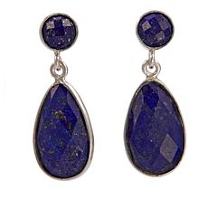 Jay King Faceted Dark Blue Lapis Sterling Silver Drop Earrings