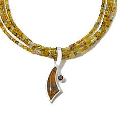 Jay King Green Goddess Opal and Garnet Pendant-Necklace