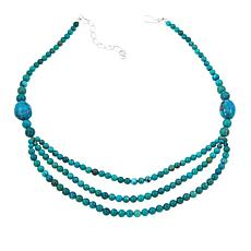 "Jay King Hubei Turquoise Multistrand 18"" Sterling Silver Necklace"