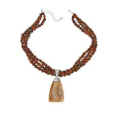 "Jay King Java Lace Agate Pendant with 18"" Necklace"