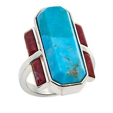Jay King Kingman Turquoise and Kandy Apple Coral Sterling Silver Ring