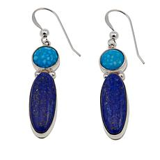 Jay King Lapis and Andean Blue Turquoise Sterling Silver Drop Earrings
