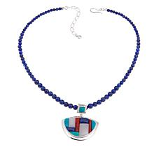 Jay King Lapis & Multigem Inlay Pendant-Necklace