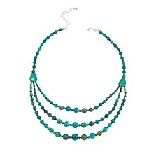"Jay King Layered Turquoise Bead 18"" Sterling Silver Necklace"