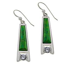 Jay King Lemon Lime Turquoise and CZ Sterling Silver Drop Earrings