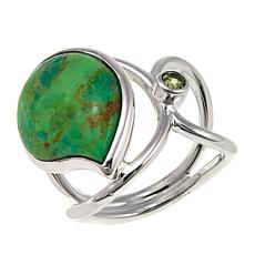 Jay King Lemon Lime Turquoise and Peridot Sterling Silver Ring