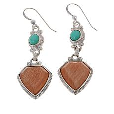 Jay King Madagascar Peach Stone and Green Opal Earrings