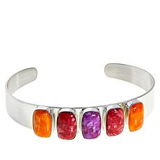 Jay King Multi-Color Spiny Oyster Shell 5-Stone Cuff Bracelet