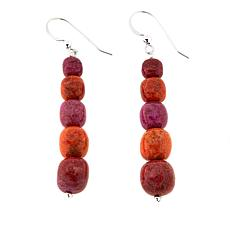 Jay King Multicolor Coral Bead Drop Sterling Silver Earrings
