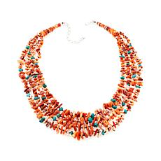 Jay King Orange Spiny Oyster Shell and Gem Necklace