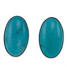 Jay King Oval Campitos Turquoise Sterling Silver Stud Earrings