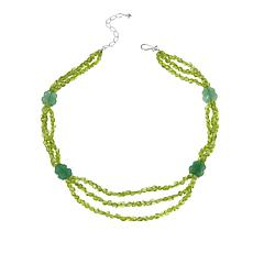 "Jay King Peridot and Aventurine 20"" Sterling Silver Necklace"