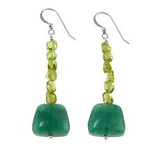Jay King Peridot and Green Aventurine Drop Sterling Silver Earrings