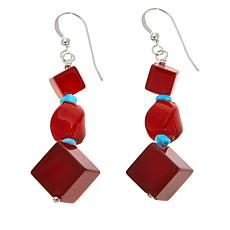 Jay King Red Carnelian and Turquoise Drop Earrings