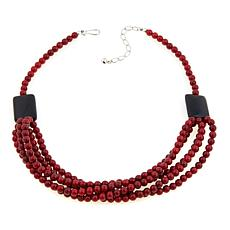 "Jay King Red Coral and Obsidian Bead 20"" Necklace"