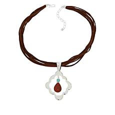 Jay King Red Opal and Turquoise Pendant with Suede Necklace