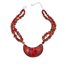 "Jay King Red Spiny Oyster Shell and Turquoise 18-3/4"" Necklace"