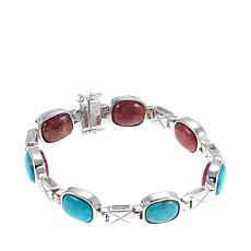 Jay King Reversible Turquoise and Pink Thulite Bracelet - S/M