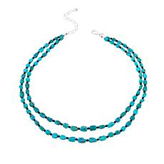 "Jay King Seven Peaks Turquoise and Obsidian Double-Strand 18"" Necklace"
