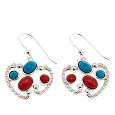 Jay King Seven Peaks Turquoise and Red Sea Bamboo Coral Drop Earrings