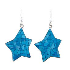 Jay King Sleeping Beauty Turquoise Inlay Star Earrings