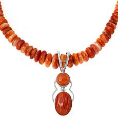 Jay King Spiny Oyster Shell Drop Pendant with Beaded Necklace