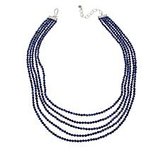Jay King Sterling Silver 5-Strand Lapis Bead Necklace