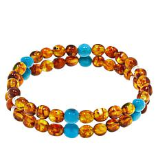 Jay King Sterling Silver Amber and Turquoise Bead Stretch Bracelet