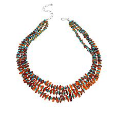 Jay King Sterling Silver Amber and Turquoise Chip 3-Strand Necklace