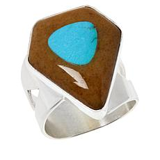 Jay King Sterling Silver Amber and Turquoise Ring