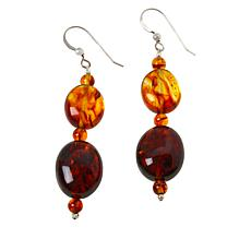 Jay King Sterling Silver Amber Bead Drop Earrings